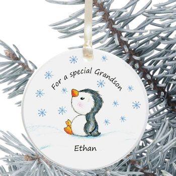 Ceramic Granddaughter/Grandson Keepsake Christmas Decoration - Penguin Design